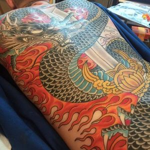 Amazing scale detail on this dragon. Tattoo by Chris O'Donnell. #ChrisODonnell #TraditionalJapanese #KingsAvenueTattoo #NewYorkTattooer #oriental #easternculture #dragon #asianart