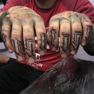 'Push Past' Tattoo by Vince Le #lettering #script #darklettering #letteringartist #darkartist #VinceLe