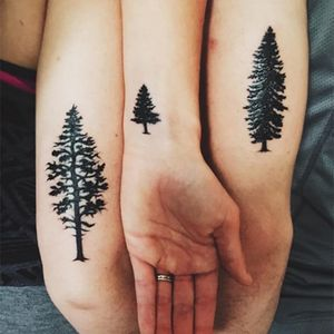 """Such an appropriate tattoo for a family named """"Woods"""" #siblingtattoo #brother #sister #trees #matchingtattoos"""
