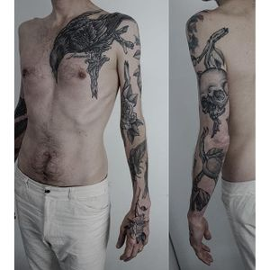 An awesome patchwork sleeve of black and grey illustrations by Maxime Buchi (IG—mxmttt). #crow #illustrative #MaximeBuchi #roses #skull