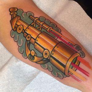 Telescope Tattoo by @woodzart #Telescope #TelescopeTattoo #TelescopeTattoos #FunTattoos #Woodzart