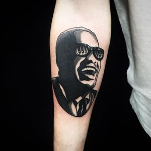 Ray Charles Tattoo by Matt Cooley #traditional #traditionalportrait #MattCooley #RayCharles