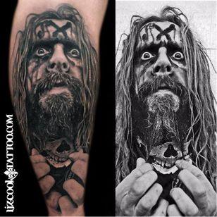 Cool Rob Zombie tattoo by Liz Cook #robzombie #LizCook #metal #musician #horrormovies #realistic #portrait #blackandgrey