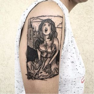 Victoria Frances inspired tattoo by Bombayfoor #Bombayfoor #sketch #sketchstyle #illustrative #surrealistic #VictoriaFrances #vampire #dotwork