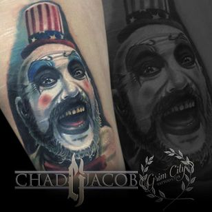 Captain Spaulding Tattoo by Chad Jacob #CaptainSpaulding #Portrait #ColorPortrait #PortraitTattoos #ColorRealism #ChadJacob #CaptainSpaulding