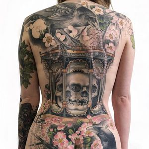 backpiece tattoo by Antony Flemming #AntonyFlemming #best tattoos #color #backpiece #skull #lantern #neotraditional #cherryblossoms #ravens #pearls #pagoda #nature #bird #feathers #wings #tattoooftheday