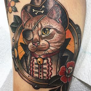Tattoo by Guen Douglas #GuenDouglas #neotraditional #color #cat #kitty #animal #petportrait #pirate #porthole #ship #pirate #rose #flower #bell #crossbones