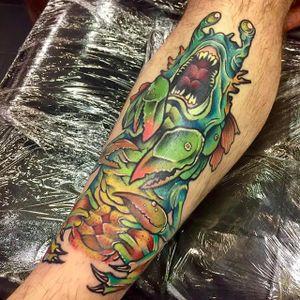 Wicked sea monster by Elliott James (via IG -- elliottjamestattoo) #elliottjames #seamonster #seamonstertattoo