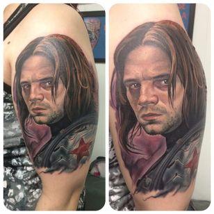 Winter Soldier Tattoo by Evan Olin #wintersoldier #wintersoldiertattoo #captainamerica #marvel #marveltattoo #comicbooktattoo #EvanOlin