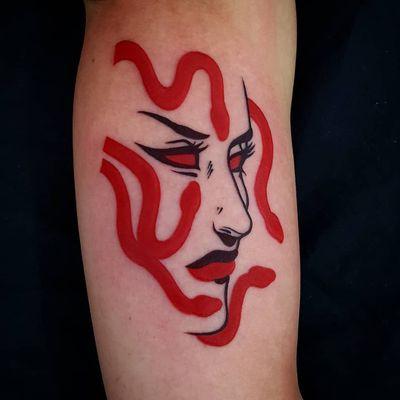 Medusa tattoo by Uve #Uve #graphic #redink #bold #popart #Medusa #portrait #snake #reptile #face #ladyhead #lady #lips #demon #deity #goddess #evil