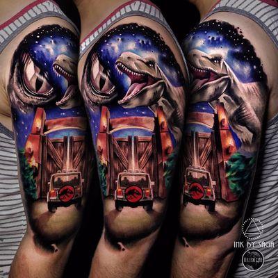 Welcome to Jurassic Park! by Saga Anderson #inkbysaga #SagaAnderson #color #realism #realistic #hyperrealism #jurassicpark #dinosaur #movietattoo #movie #car #nature #raptor #trex #tattoooftheday