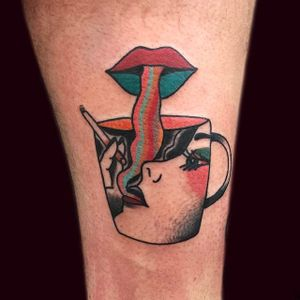 Trippy coffee cup tattoo. #Cooley #MattCooley #smoke #cigarette #trippy #coffee