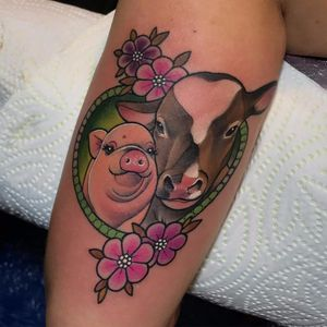 Animal friendly forever by Debora Cherrys #DeboraCherrys #cow #pig #flowers #vegan #animals #color #newtraditional #tattoooftheday