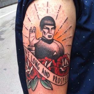 Spock tattoo by Santi Cuevas. #spock #leonardnimoy #startrek #scifi #portrait #traditional