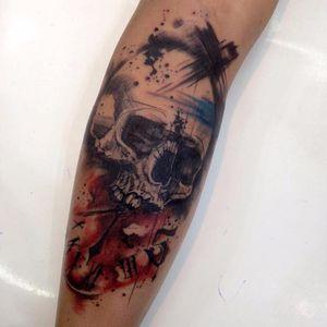 #RobertoFelizatti #aquarela #watercolor #tatuadoresdobrasil #sketch #colorida #colorful #caveira #skull