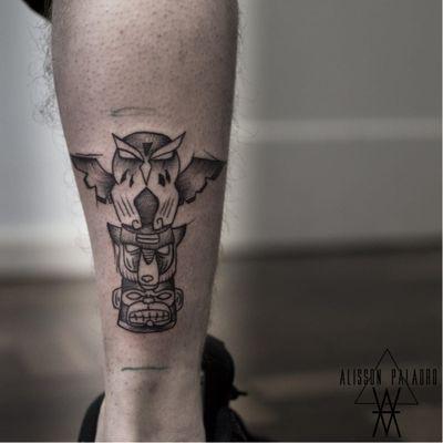 #AlissonPalaoro #brasil #brazil #brazilianartist #tatuadoresdobrasil #blackwork #sketch #pontilhismo #dotwork #totem #macaco #monkey #urso #bear #coruja #owl
