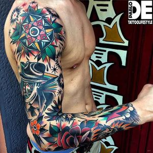 Sleeve Tattoo by Pablo DE #traditional #traditionaltattoo #traditionaltattoos #oldschool #italiantattoos #PabloDe