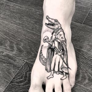 Alligator wizard tattoo by James Butler #JamesButler #blackwork linework #dotwork #alligator #animal #wizard #skull #sword #woodblock #etching #scales #teeth #death #tattoooftheday