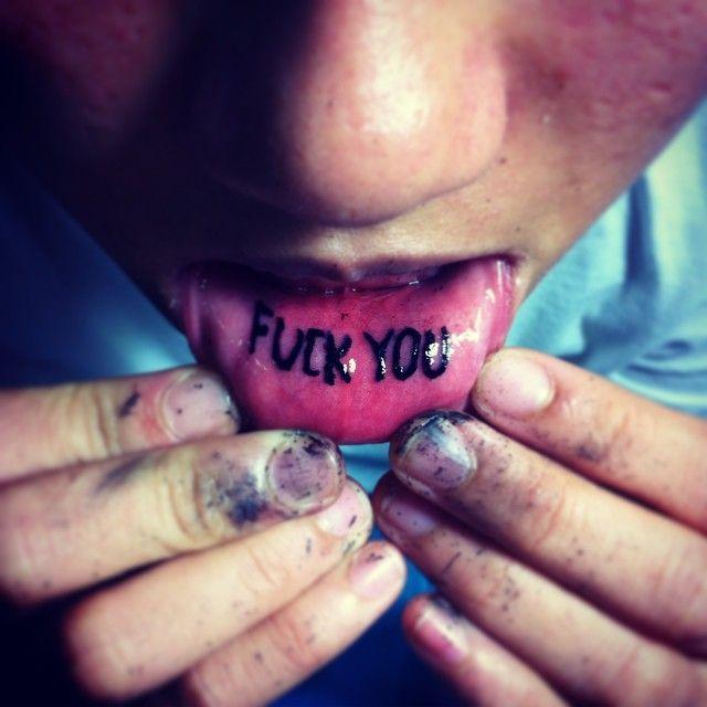 Inner Lip Fuck You Tattoo by Custolit @Custolit #Custolit #Liptattoo #Innerlip #FuckYou #FuckYouTattoo