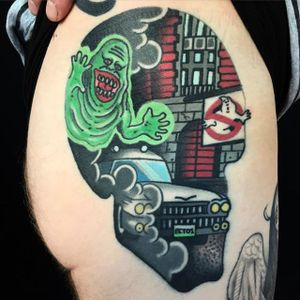 Ghostbusters tattoo by Sam Kane. #SamKane #skull #popculture #traditional #ghostbusters