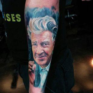 Beautiful David Lynch tattoo portrait by Paul Acker. #PaulAcker #filmdirectorstattoo #DavidLynch #davidlynchtattoo
