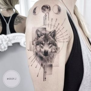 Lone wolf by Goldy Z #GoldyZ #blackandgrey #realism #realistic #hyperrealism #linework #shapes #dotwork #moon #mooncycles #wolf #wolves #nature #animal #forest #tattoooftheday