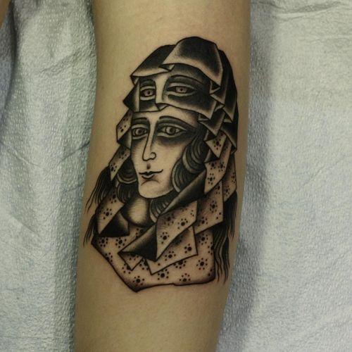 Tattoo by Franco Maldonado #FrancoMaldonado #blackandgrey #illustrative #newtraditional #darkart #surreal #linework #dots #portrait #ladyhead #eyes #lady #scarf #pattern