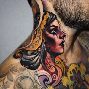 Lady On The Neck by IG @victor_chil. This is pretty SICK tbh. #neck #necktattoo