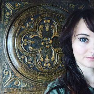 Artist Charlotte Timmons. #bird #owl #frame #filigree #flowers #nightsky #CharlotteTimmons