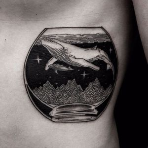 Blackwork whale in a fishbowl tattoo by Roma Broslavskiy. #RomaBroslavskiy #blackwork #illustrative #woodcut #surrealism #whale #fishbowl