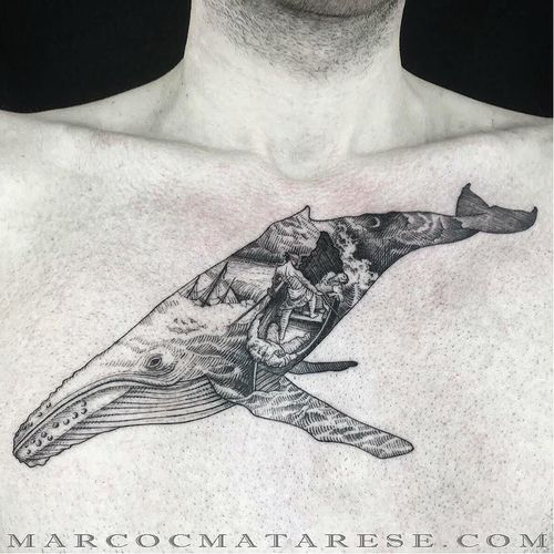 Surrealistic whale tattoo by Marco Matarese #whale #doubleexposuretattoo #MarcoMatarese #engraving #surrealistric