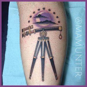 Tattoo by Michael Munter #Telescope #TelescopeTattoo #TelescopeTattoos #FunTattoos #MichaelMunter