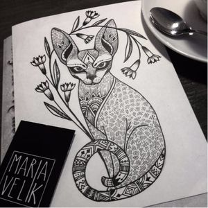 Flash by Maria Velik #MariaVelik #illustrative #linework #cat #flash #art #illustration