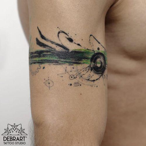 Watercolor tattoo by Deborah Genchi #DeborahGenchi #debrartist #watercolortattoos #color #painterly #watercolor #abstract #splatter #shapes #fineline