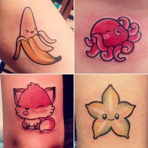 Kawaii tattoos by Kim Ai #KimAi #kawaii #japaneseanimation #anime #chibi #newschool #cartoon #japaneseculture #japaneseart #banana #octopus #fox #star