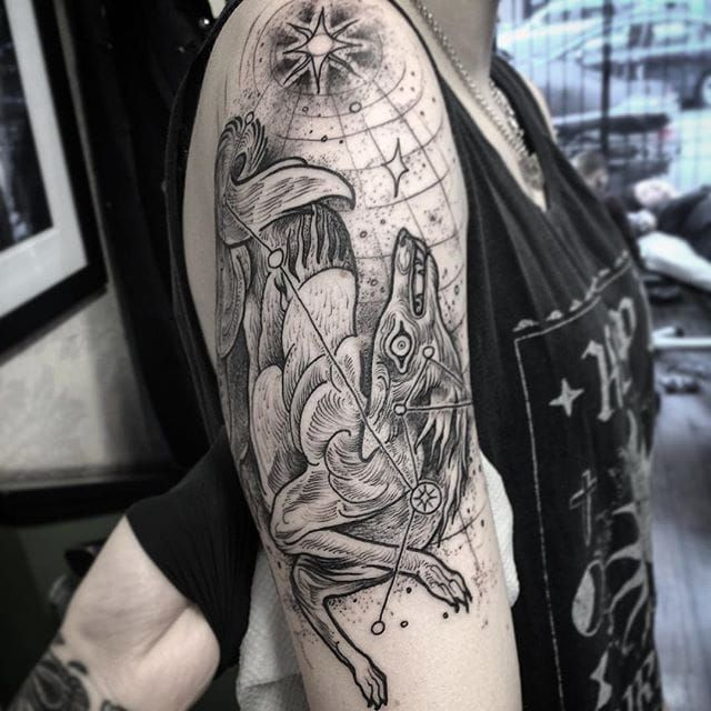 Blackwork tattoo by Nomi Chi. #NomiChi #blackwork #haunting #macabre #illustration #wolf #cosmic #btattooing #blckwrk