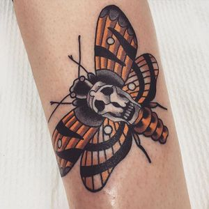 Death Moth Tattoo by Shannon Hodgkin #deathmoth #deathmothtattoo #deathmothtattoos #moth #mothtattoo #skull #skulltattoo #skullmoth #mothskull #traditionalmoth #ShannonHodgkin