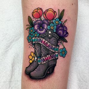 Tattoo by Roberto Euan #RobertoEuan #newtraditional #color #boots #cowboyboots #cowboy #flowers #floral #text #banner #glitter #sparkle #leaves