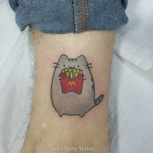 Even Pusheen loves McDonalds. By Marie Terry (via IG -- marieterry_tattooartist) #Pusheen #mcdonalds #mcdonaldstattoo