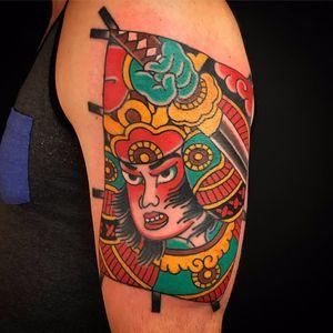 Fighting Samurai by Kiku #kiku #kikupunk #Japanese #samurai #color #sword #warrior #newtraditional #tattoooftheday