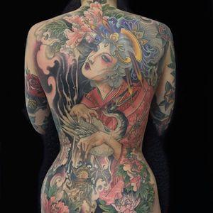 Beauty by Wendy Pham #WendyPham #color #japanese #geisha #crane #peony #tattoooftheday