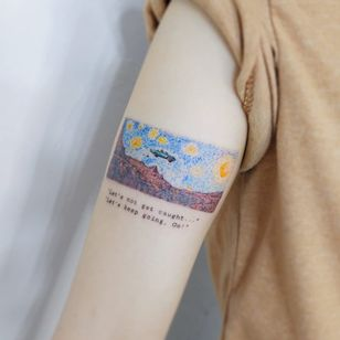 Thelma and Louise meets Van Gogh tattoo by Neul Tattoo #neultattoo #VanGoghtattoo #color #painting #film #movietattoo #movie #ThelmaandLouise #VanGogh #car #mountains #landscape #StarryNight #sky #stars