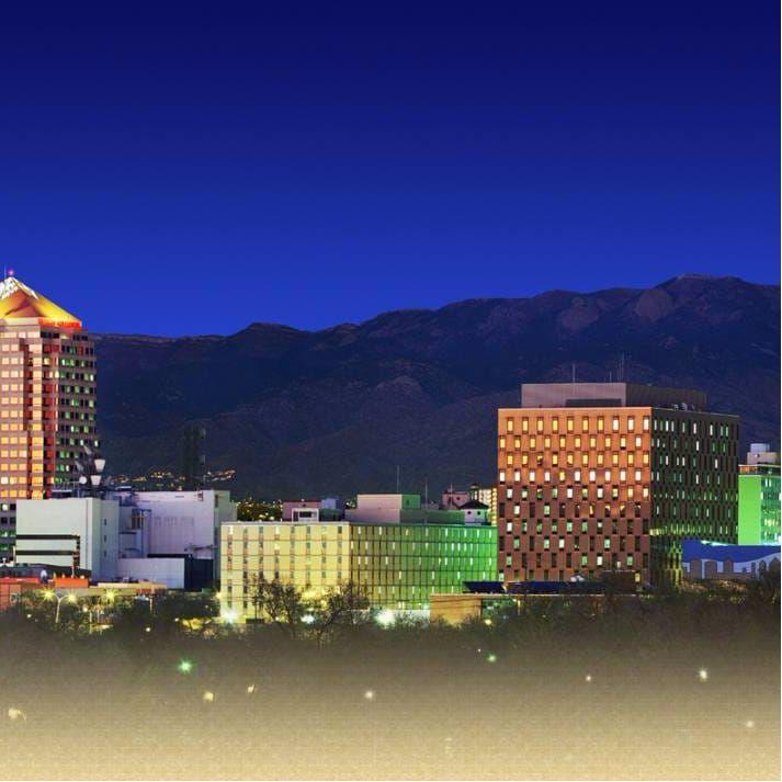 Beautiful shot of Albuquerque's downtown skyline at dusk. #Albuquerque #NewMexico #tattooculture