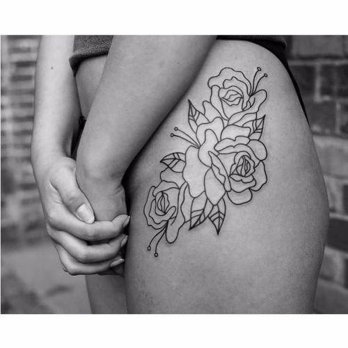 Linework rose tattoo by Wsciekly Kot #WscieklyKot #handpoked #baltic #nordic #slavic #traditional #geometric #dotwork #blackwork #linework #rose