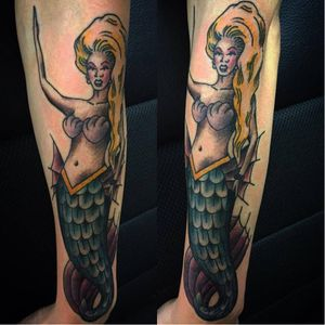 RuPaul mermaid tattoo by Wilson Change #RuPaul #WilsonChange #mermaid #traditional #dragqueen