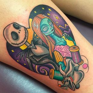 Tim Burton's The Nightmare before Christmas themed Jack and Sally Tattoo by Sarah K @SarahKTattoo #SarahKTattoo #SouthAustralia #Neotraditional #Colorful #Pop #bright_and_bold #Neotraditionaltattoo #JackSkellington #Sally #Timburton