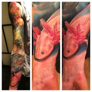 Axolotl in a sleeve by Diogo Nunes (via IG -- diogonunestattoos) #DiogoNunes #axolotl #axolotltattoo