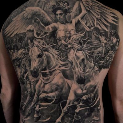 The WInged Victory of Samothrace by Carlos Torres #CarlosTorres #blackandgrey #horses #horse #Nike #Victoria #Samothrace #Roman #Greek #mythology #victory #realism #realistic #hyperrealism #portrait #warrior #soldier #goddess #architecture #tattoooftheday