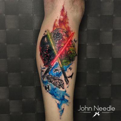 #JohnNeedle #brasil #brazil #brazilianartist #tatuadoresdobrasil #aquarela #watercolor #colorido #colorful #darthvader #yoda #darkside #jedi #sith #starwars #nerd #geek #milleniumfalcon #movie #filme #StarDeath #EstrelaDaMorte