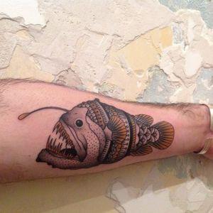 Lantern fish tattoo by Fabrice Toutcourt #FabriceToutcourt #fish #anglerfish #dotwork